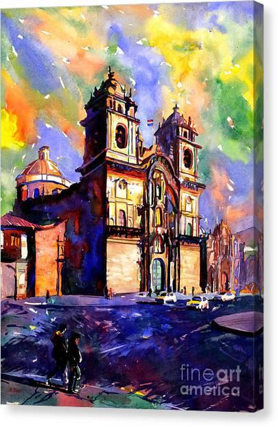 Watercolor Painting Of Church On The Plaza De Armas Cusco Peru Canvas Print