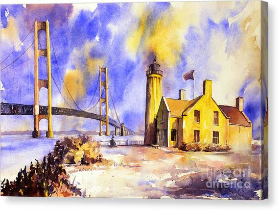 Watercolor Painting Of Ligthouse On Mackinaw Island- Michigan Canvas Print