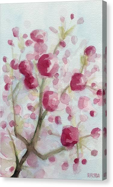 Laundry Canvas Print - Watercolor Painting Of Pink Cherry Blossoms by Beverly Brown Prints