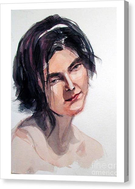 Watercolor Portrait Of A Young Pensive Woman With Headband Canvas Print