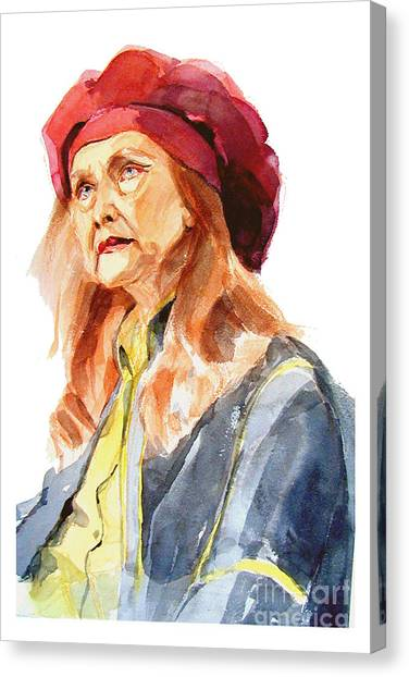 Watercolor Portrait Of An Old Lady Canvas Print