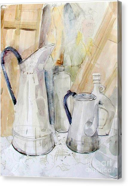 Watercolor Still Life Of White Cans Canvas Print