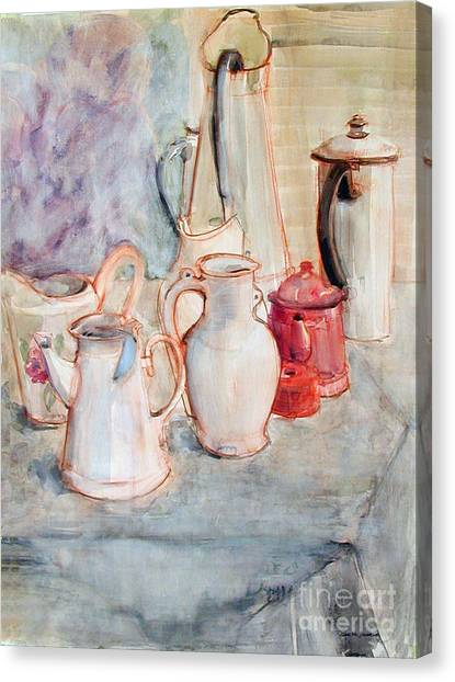 Watercolor Still Life With Red Can Canvas Print