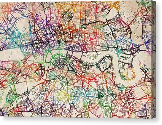 England Canvas Print - Watercolour Map Of London by Michael Tompsett