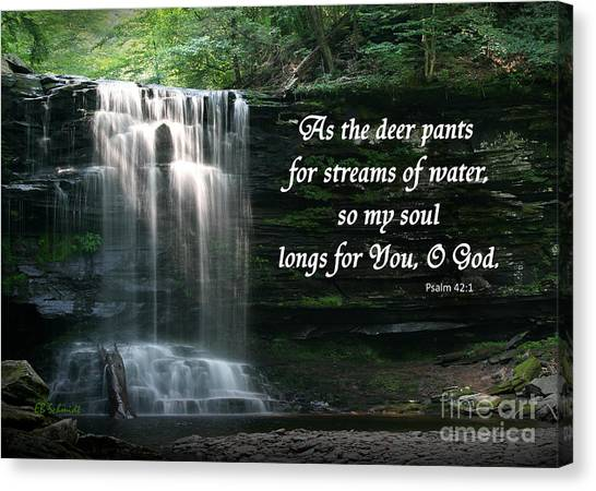Waterfall At Ricketts Glen - Psalm 42 Canvas Print