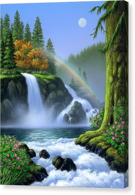 Rainbows Canvas Print - Waterfall by Jerry LoFaro