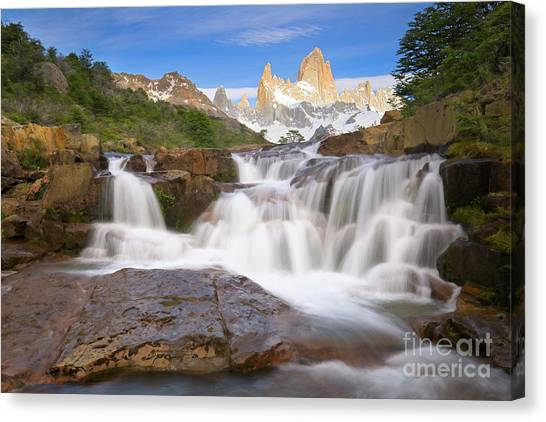Andes Mountains Canvas Print -  Los Glaciares Waterfall by Yva Momatiuk John Eastcott