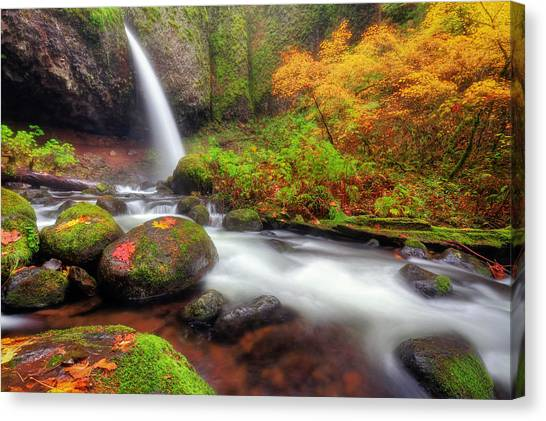 Waterfall With Autumn Colors Canvas Print