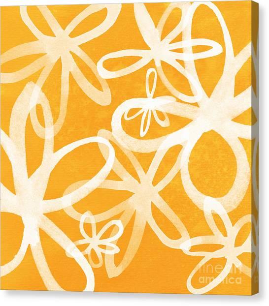 Tie-dye Canvas Print - Waterflowers- Orange And White by Linda Woods