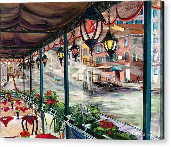 Canvas Print featuring the painting Waterfront Cafe by TM Gand