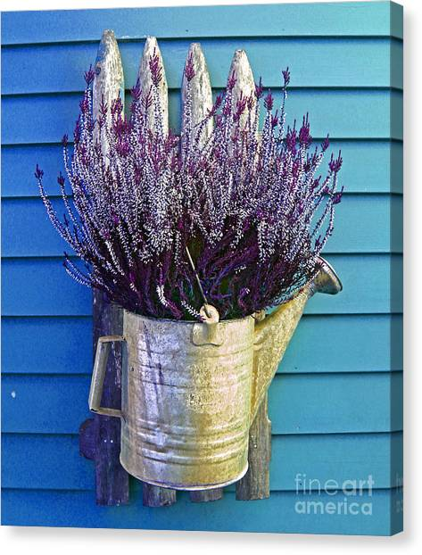 Watering Can On The Blue Wall Canvas Print
