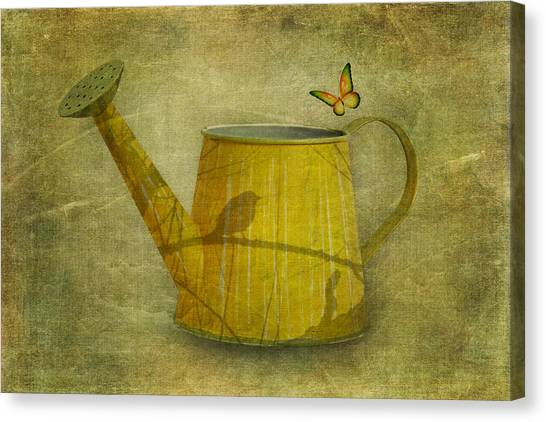 Yellow Butterfly Canvas Print - Watering Can With Texture by Tom Mc Nemar