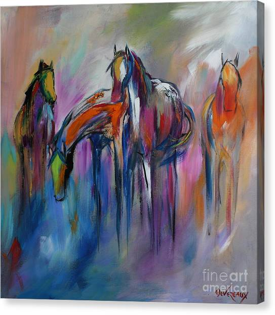 Equine Canvas Print - Watering Hole by Cher Devereaux
