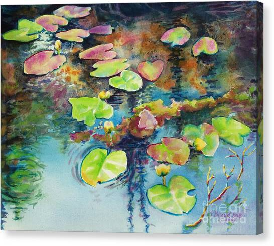 Waterlilies In Shadow Canvas Print