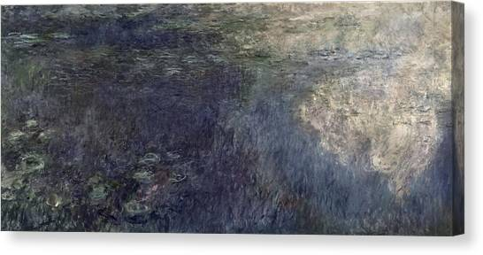Murky Canvas Print - Waterlilies, The Clouds by Claude Monet