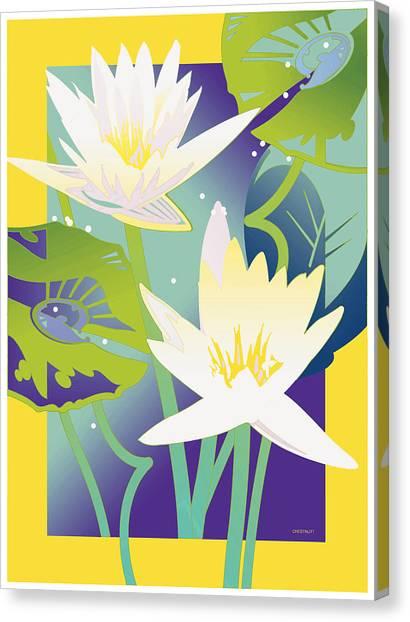 Waterlilies Yellow Border Canvas Print