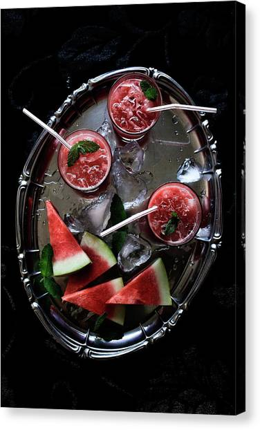 Watermelon, Gin And Mint Cocktail Canvas Print