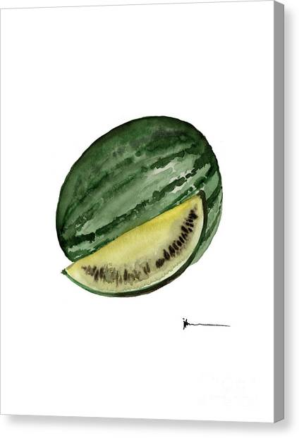 Watermelons Canvas Print - Watermelon Watercolor Art Print Painting by Joanna Szmerdt