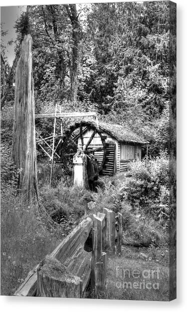 Waterwheel In Black And White Canvas Print