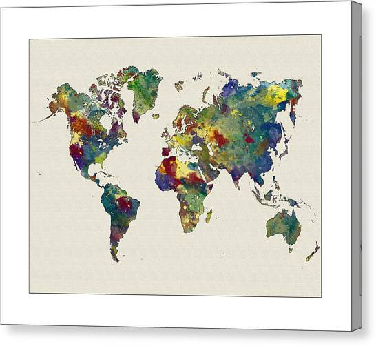 World map paint splashes canvas prints fine art america world map paint splashes canvas print watetercolor world map by watercolormaps chris and mary ann gumiabroncs Gallery