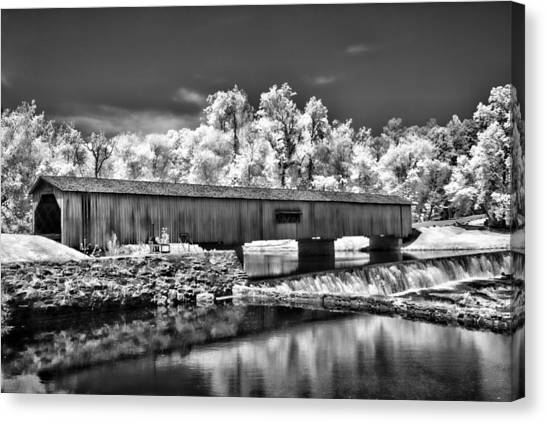 Watson Mill Covered Bridge In Infrared Canvas Print by Linda Mcfarland