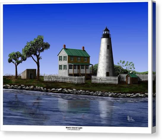 Watt's Island Light Canvas Print by Patrick Belote