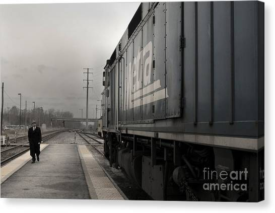 Canvas Print featuring the photograph Waukugen Train Station by Glenda Wright