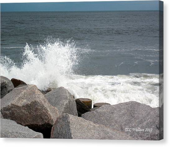 Wave Breaks On Rocks Canvas Print by Tammy Wallace