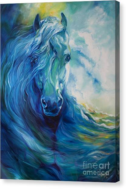 Abstract Horse Canvas Print - Wave Runner Blue Ghost Equine by Marcia Baldwin