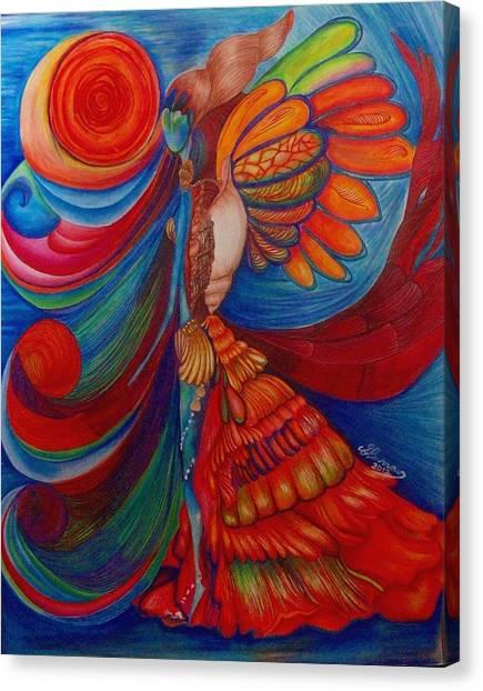 Prisma Colored Pencil Canvas Print - Wave by Sarah Burrows