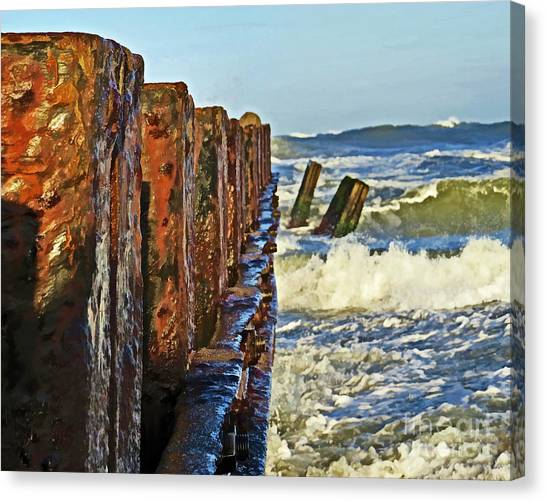 Breaking Sound Barrier Canvas Print - Waves Against The Breakers by Dawn Gari