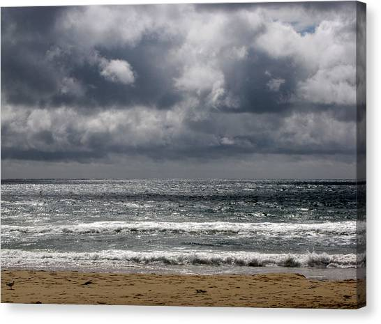 Waves And Beach Canvas Print by Karen E Phillips