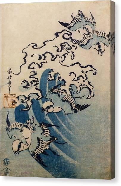 Finches Canvas Print - Waves And Birds by Katsushika Hokusai