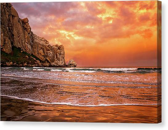 Waves Breaking On Beach At Sunrise Canvas Print by Alice Cahill