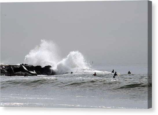 Waves Crash Against Beach 91st Jetty Canvas Print