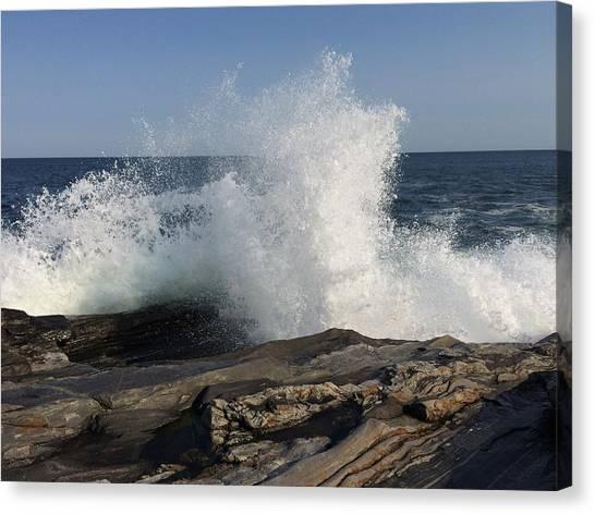 Waves Crashing On Rocky Maine Coast Canvas Print