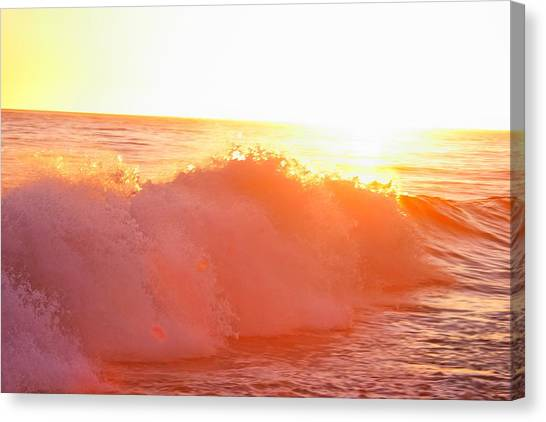 Waves In Sunset Canvas Print