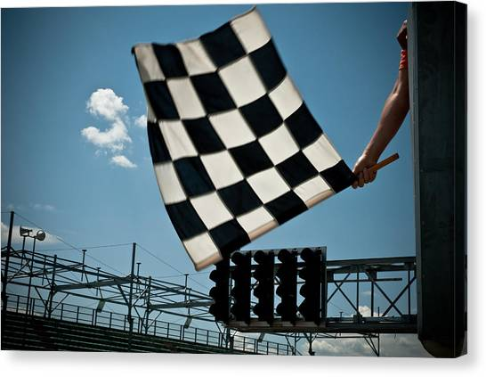 Waving Checkered Flag Canvas Print by Stevedangers