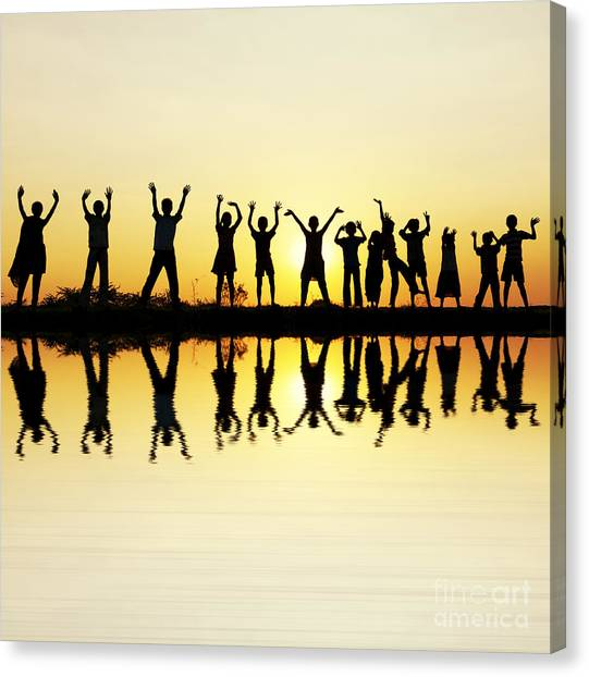 Waving Children Canvas Print