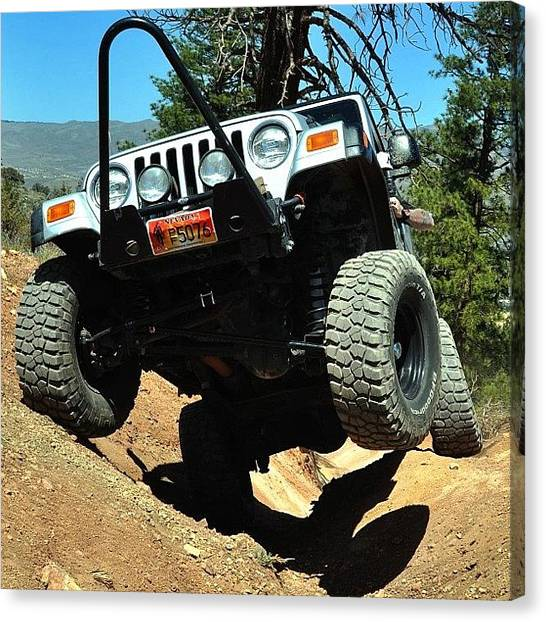 Offroading Canvas Print - Waving Hi. #jeep #jeepwrangler #offroad by James Crawshaw