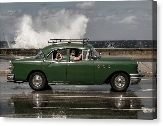 Waving Malecon Canvas Print by Andreas Bauer