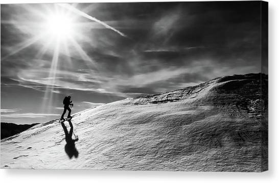 Skiing Canvas Print - Way To The Summit by Marcel Rebro