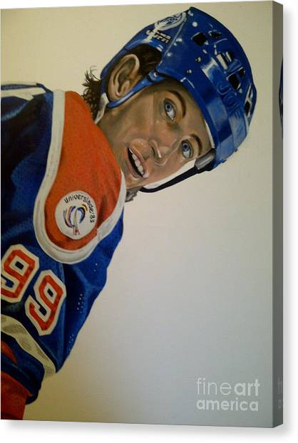 Edmonton Oilers Canvas Print - Wayne by Graham McLeod