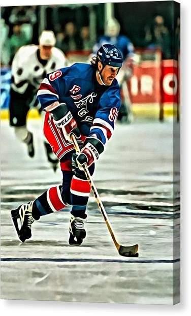 New York Rangers Canvas Print - Wayne Gretzky Skating by Florian Rodarte