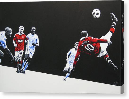 Canvas Print featuring the painting Wayne Rooney - Manchester United Fc by Geo Thomson & Geo Thomson Canvas Prints