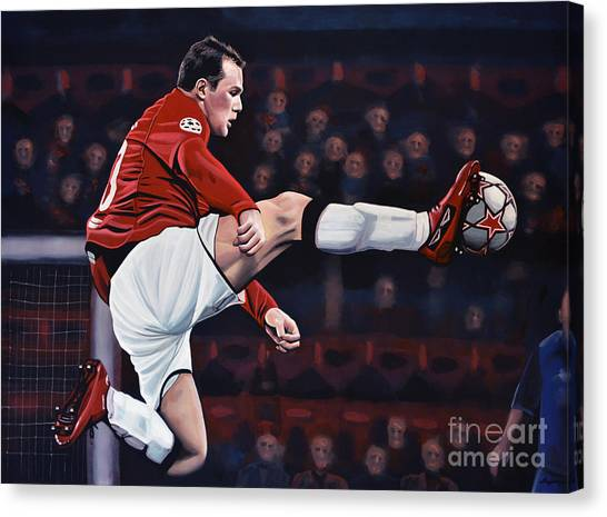 Soccer Teams Canvas Print - Wayne Rooney by Paul Meijering