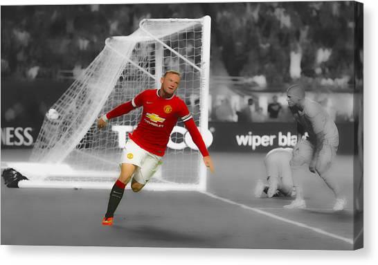Wayne Rooney Canvas Print - Wayne Rooney Scores Again by Brian Reaves
