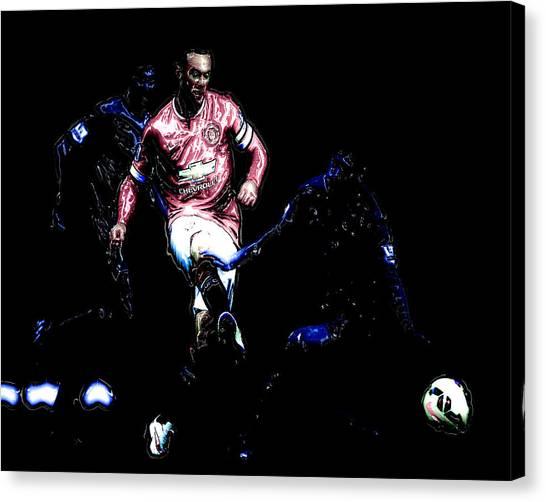 Wayne Rooney Canvas Print - Wayne Rooney Working Magic by Brian Reaves