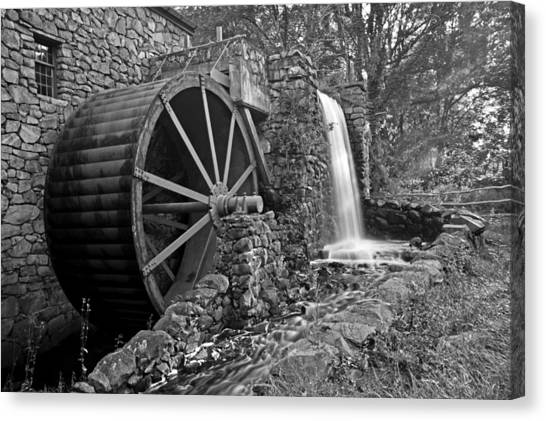 Sudbury Ma Canvas Print - Wayside Inn Grist Mill Black And White by Toby McGuire