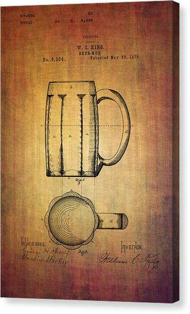 Pint Glass Canvas Print - W.c.king Beer Mug Patent From 1876 by Eti Reid